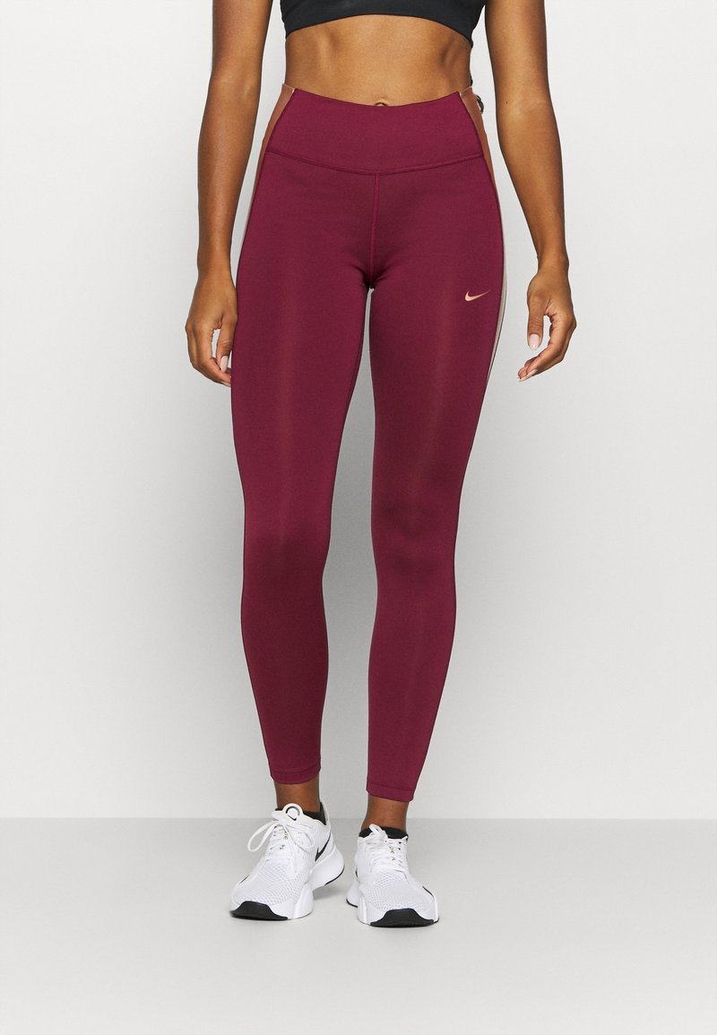Nike Performance - ONE COLORBLOCK - Tights - dark beetroot/red bronze