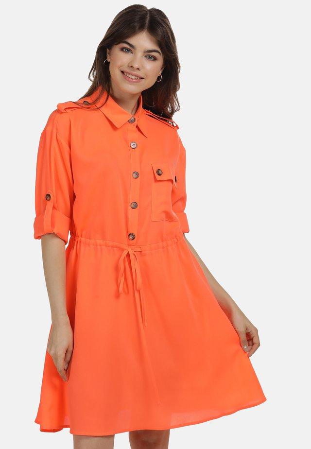 Košilové šaty - neon orange