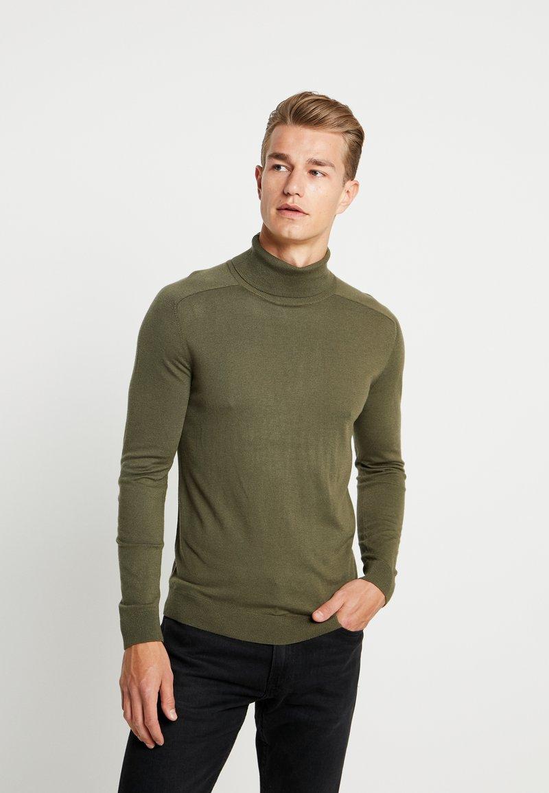 Benetton - ROLL NECK - Sweter - olive