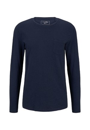 T SHIRT INDIGO LANGARMSHIRT MIT BRUSTTASCHE - Long sleeved top - used dark stone blue denim