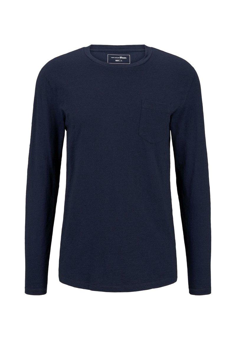 TOM TAILOR DENIM - T SHIRT INDIGO LANGARMSHIRT MIT BRUSTTASCHE - Long sleeved top - used dark stone blue denim