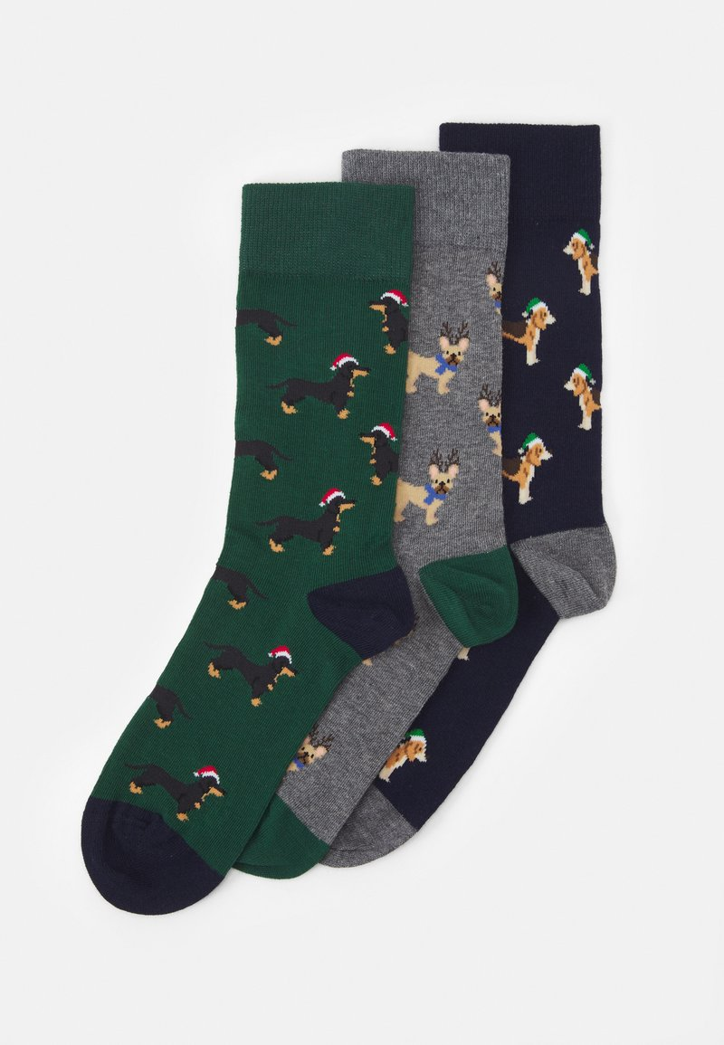 Pier One - 3 PACK - Socks - dark blue/dark green/mottled dark grey