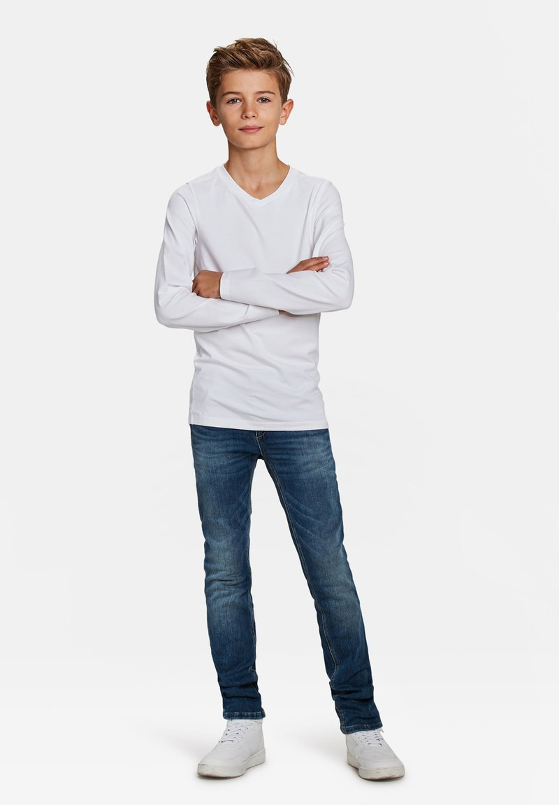 WE Fashion - WE FASHION JONGENS V-NECK T-SHIRT, 2-PACK - Long sleeved top - white