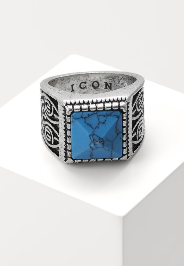 ELABORATE SQUARE SIGNET - Ring - silver-coloured