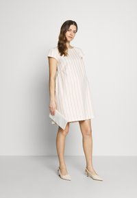 Balloon - LOW BACK DRESS WITH STRIPES - Denní šaty - offwhite/red - 1