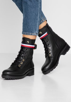 CORPORATE RIBBON BIKERBOOT - Lace-up ankle boots - black
