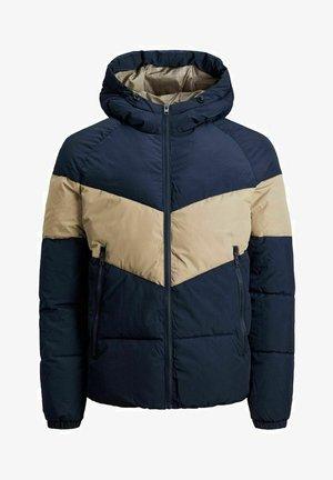 Winter jacket - dark-blue denim, beige