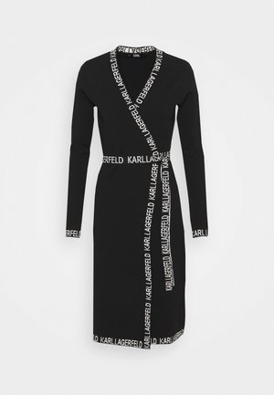 LOGO TAPE WRAP DRESS - Day dress - black