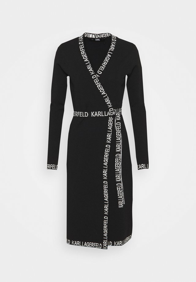 LOGO TAPE WRAP DRESS - Sukienka letnia - black
