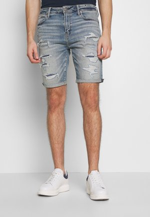 ACID DESTROY CUTOFF NO CUFF - Denim shorts - medium tinted indigo