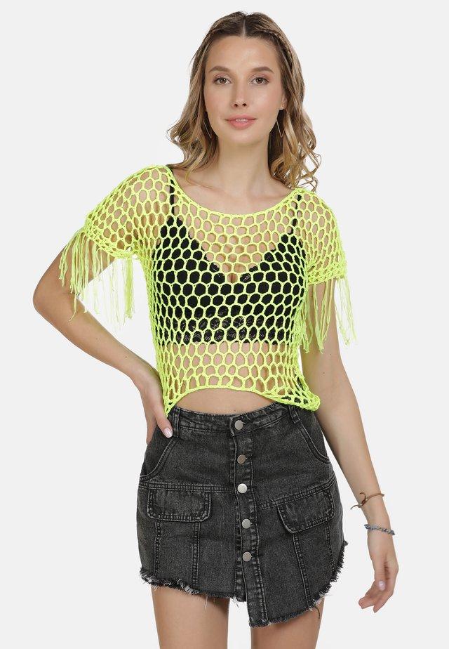 IZIA HÄKELTOP - T-shirt print - neon gelb