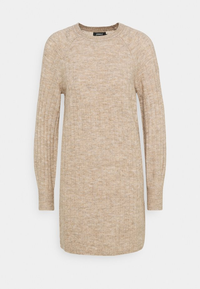 ONLCORINNE DRESS - Stickad klänning - toasted coconut melange