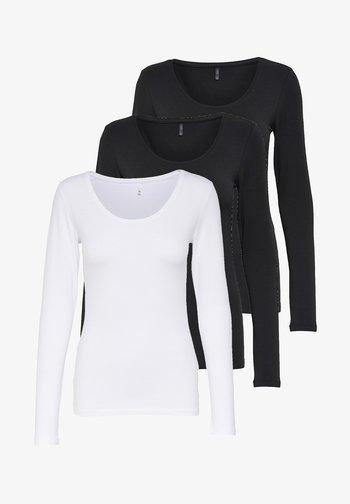 LIVE LOVE NEW LONGSLEEVE - Long sleeved top - schwarz/schwarz/weiß
