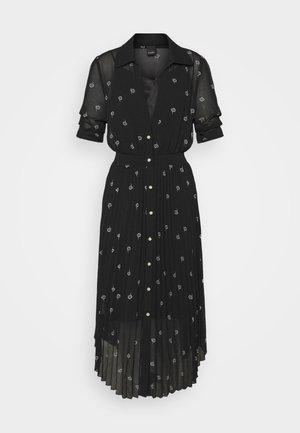 NOTO ABITO GEORGETTE RICAMO FIORE - Košilové šaty - black
