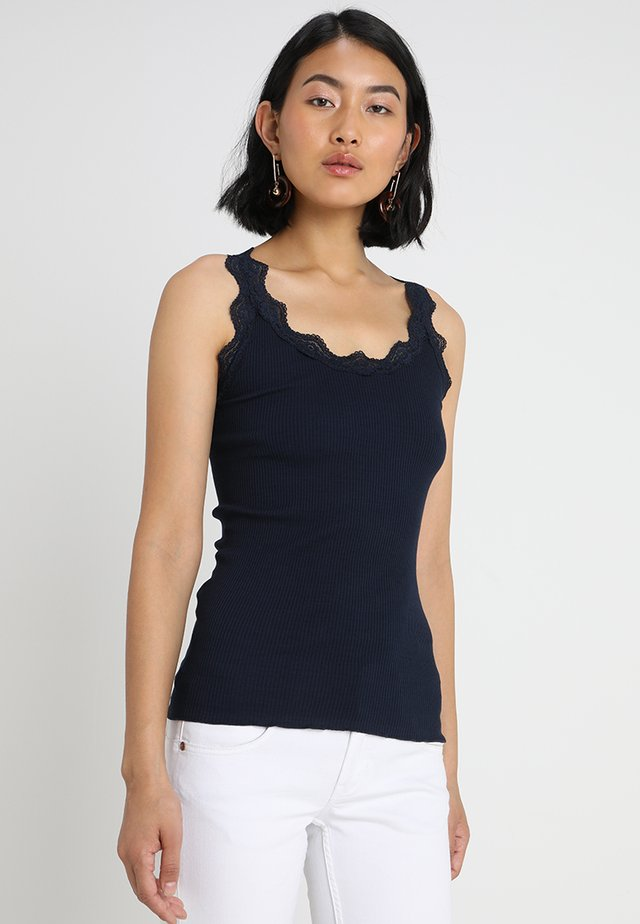 ORGANIC TOP WITH LACE - Top - dark blue