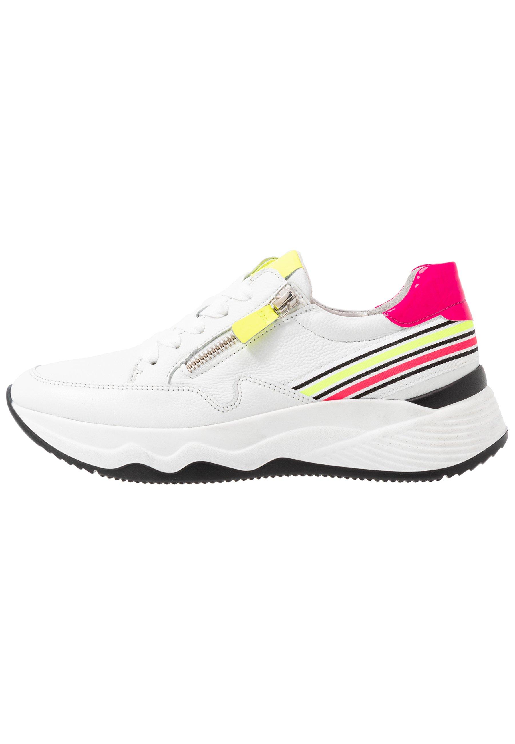 Gabor Chunky Sneaker Low Schnürschuhe weiß neon Leder Reißverschluss Einlagen