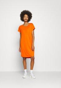 Marc O'Polo - DRESS OVERCUT SHOULDER ROUND NECK - Jersey dress - sunbaked orange - 2