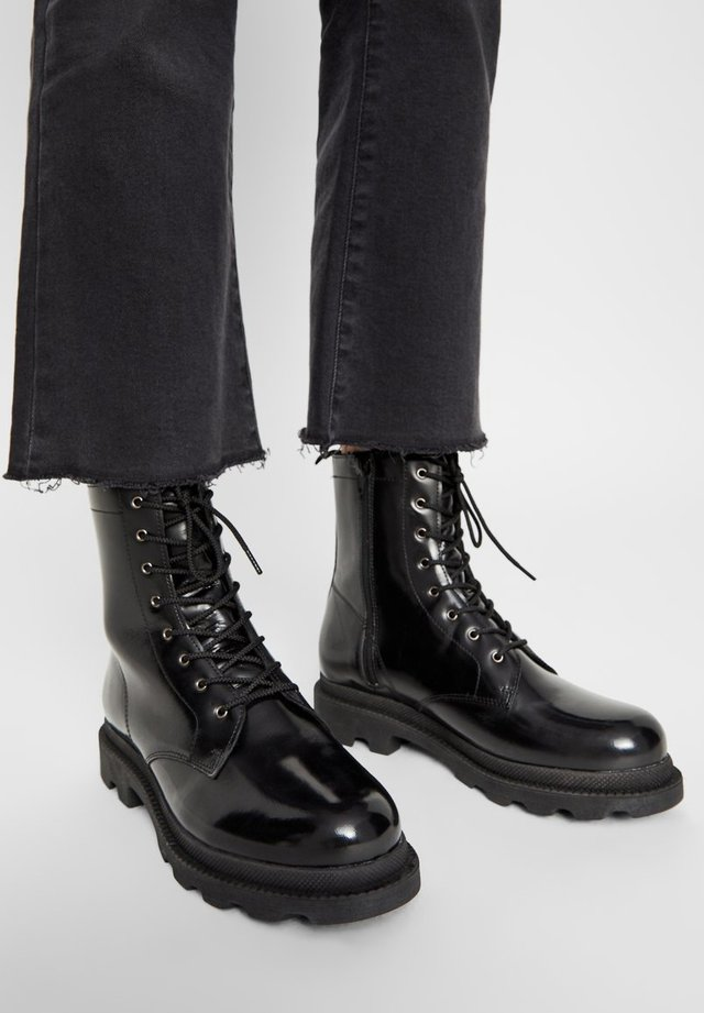BIKER BOOTS REISSVERSCHLUSS - Lace-up ankle boots - black