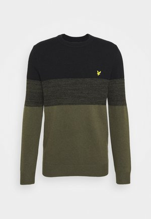 CHEST PANEL JUMPER - Jumper - true black/olive