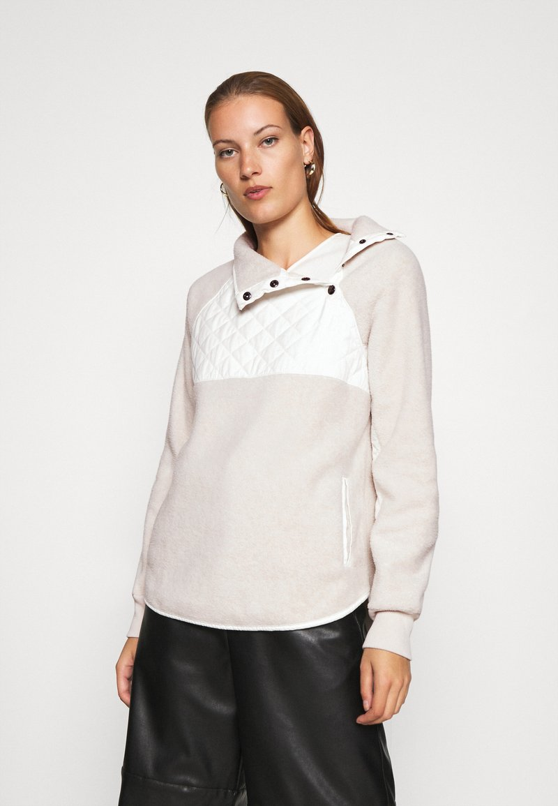 Abercrombie & Fitch - ASYMETRICAL SNAP - Sweat polaire - cream/cream
