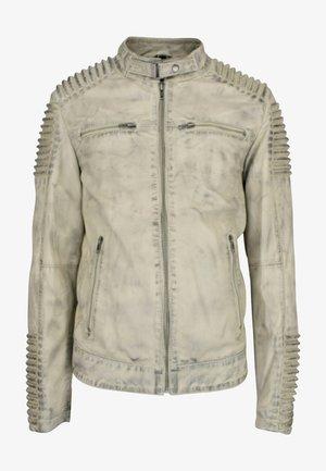 Leather jacket - dunkel weiß
