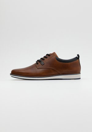 LEATHER - Sportieve veterschoenen - cognac