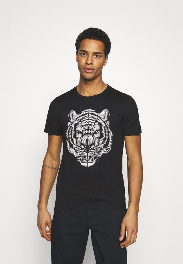 SLIM FIT WITH DOUBLE LAYER - T-shirt print - nero