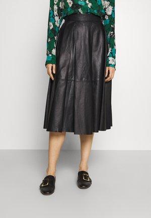 SKIRT  - Leather skirt - black
