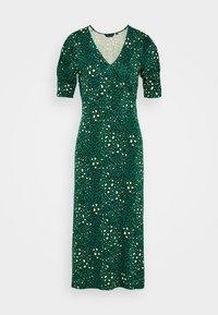 EMPIRE SEAM SHORT SLEEVE MIDI LEOPARD - Jersey dress - green