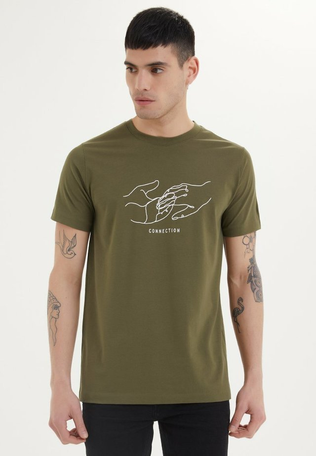 CONNECTION - T-shirt print - dark olive