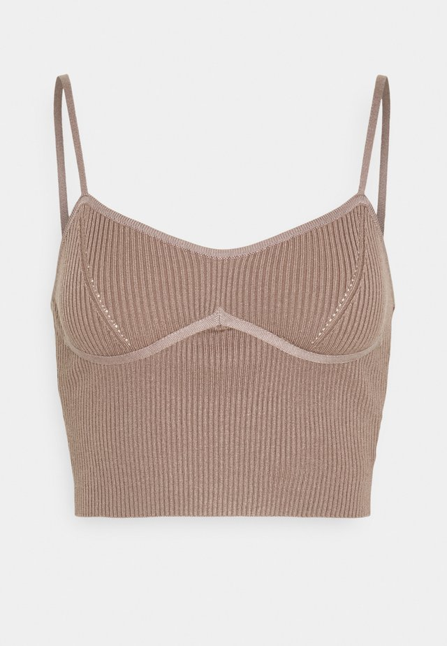 STRAPPY BUST DETAIL CROP TOP - Toppe - mocha