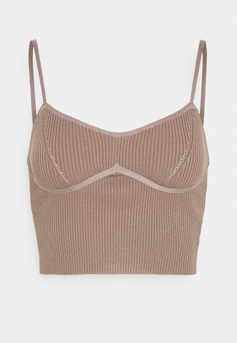 Missguided - STRAPPY BUST DETAIL CROP TOP - Top - mocha