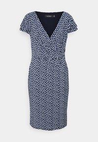PRINTED MATTE DRESS - Jersey dress - navy/col cream