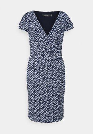 PRINTED MATTE DRESS - Jerseykjole - navy/col cream