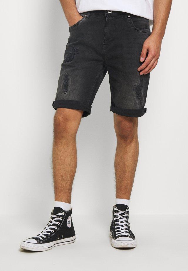 BECKER - Szorty jeansowe - black used