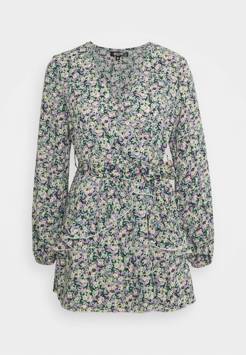 Missguided Petite - SMOCK DRESS DITSY - Kjole - black