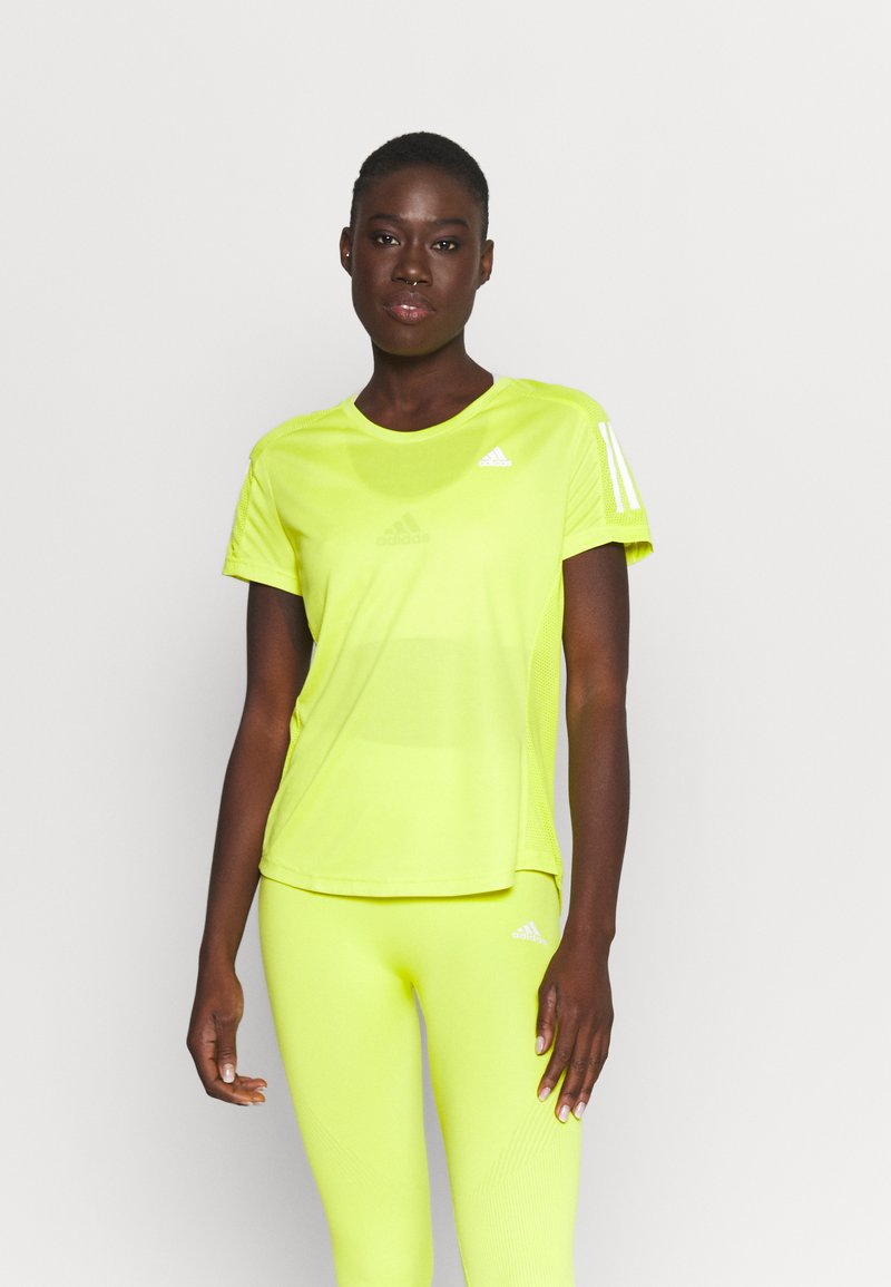 adidas Performance - OWN THE RUN TEE - T-shirt con stampa - acid yellow