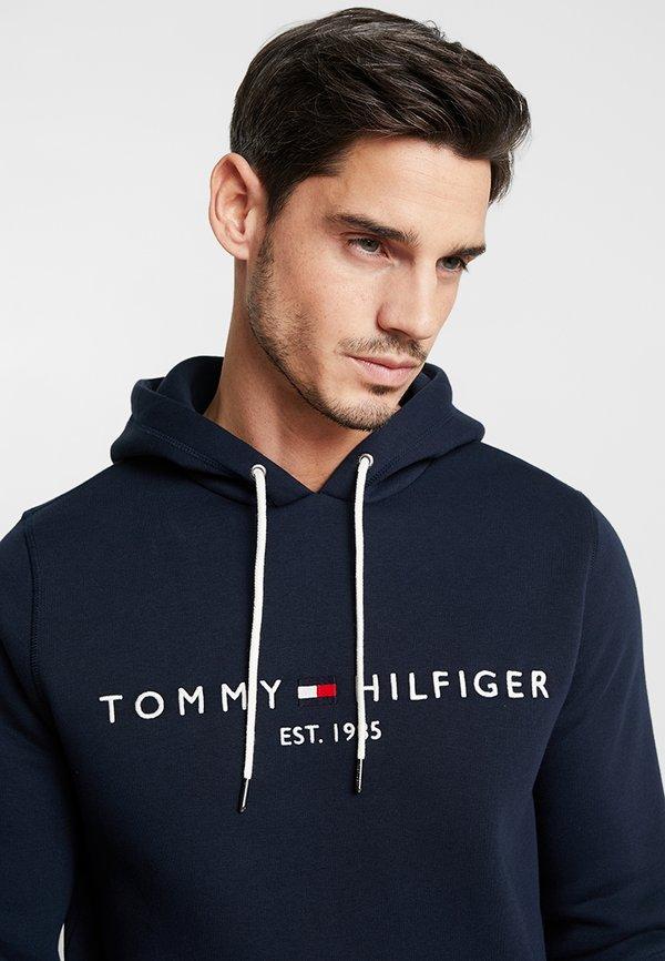 Tommy Hilfiger LOGO HOODY - Bluza z kapturem - blue/granatowy Odzież Męska RADH