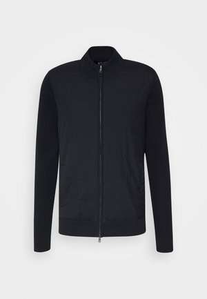 FABRIC FRONT ZIP - Cardigan - navy