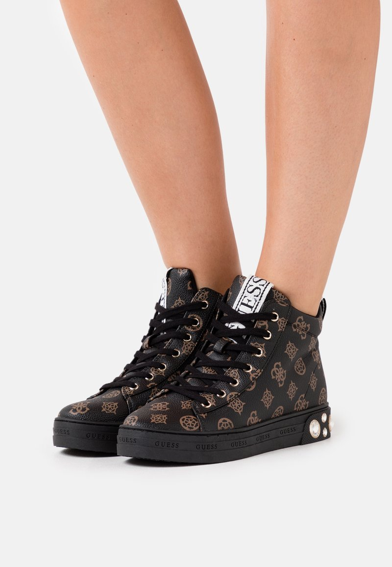 Guess - REMMY - Sneakers hoog - brown/ocra