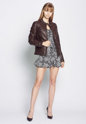 RYANA - Leather jacket - dark brown