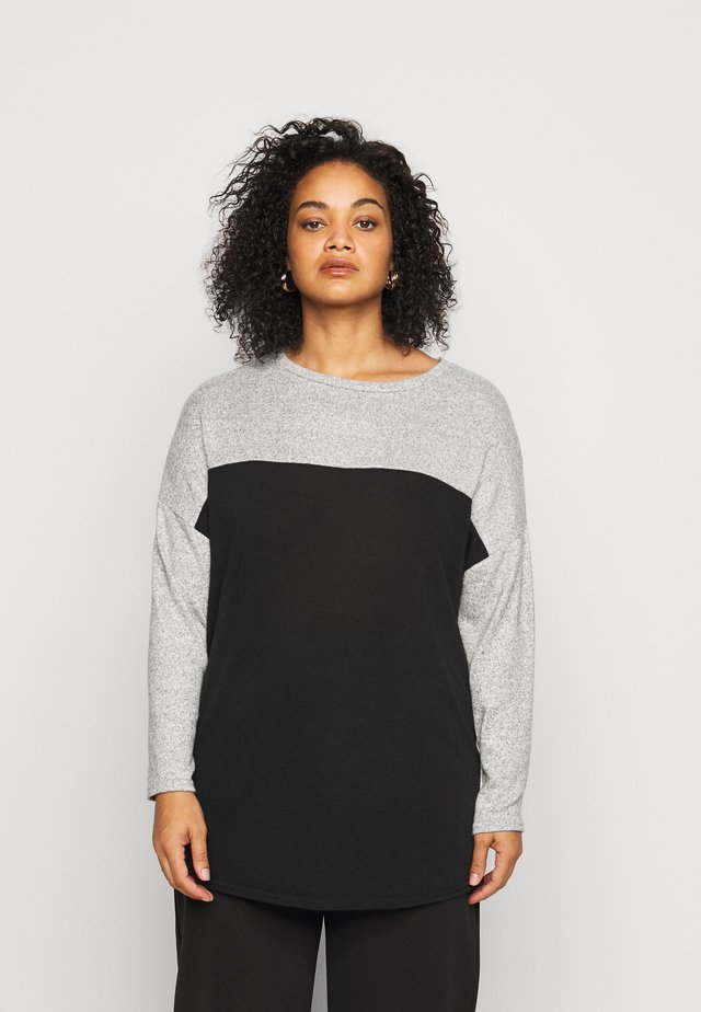 COLOURBLOCK SOFT TOUCH JUMPER - Jersey de punto - black/grey melange