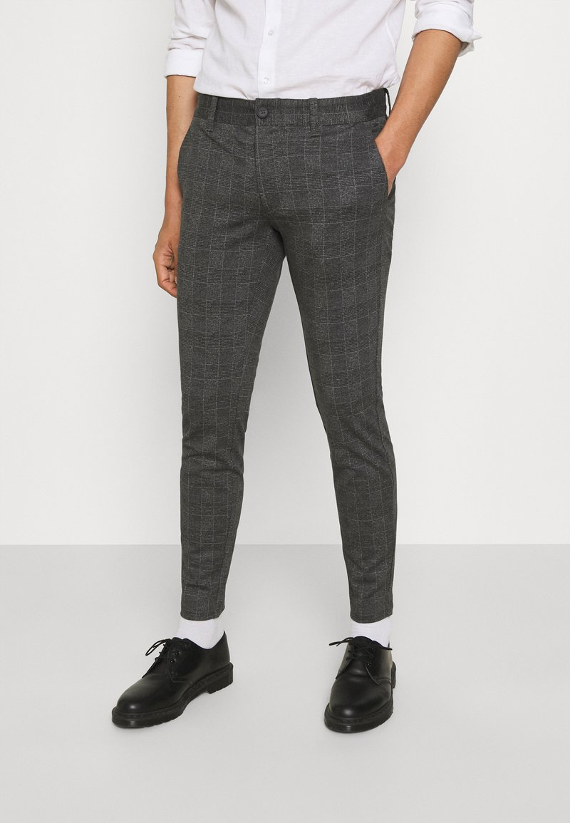 Only & Sons - ONSMARK CHECK PANTS - Trousers - black