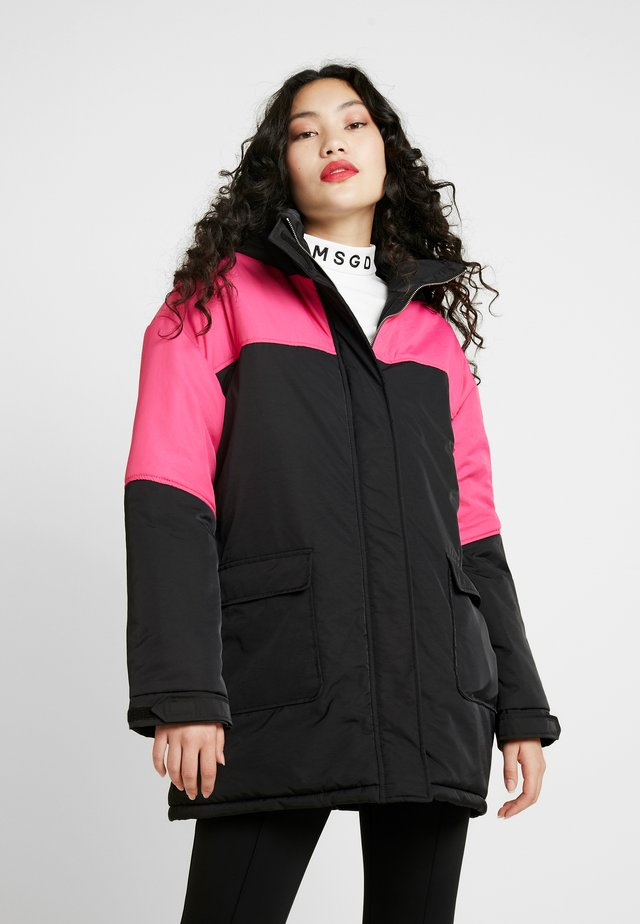 COLOUR BLOCK PADDED RACING JACKET - Cappotto invernale - black