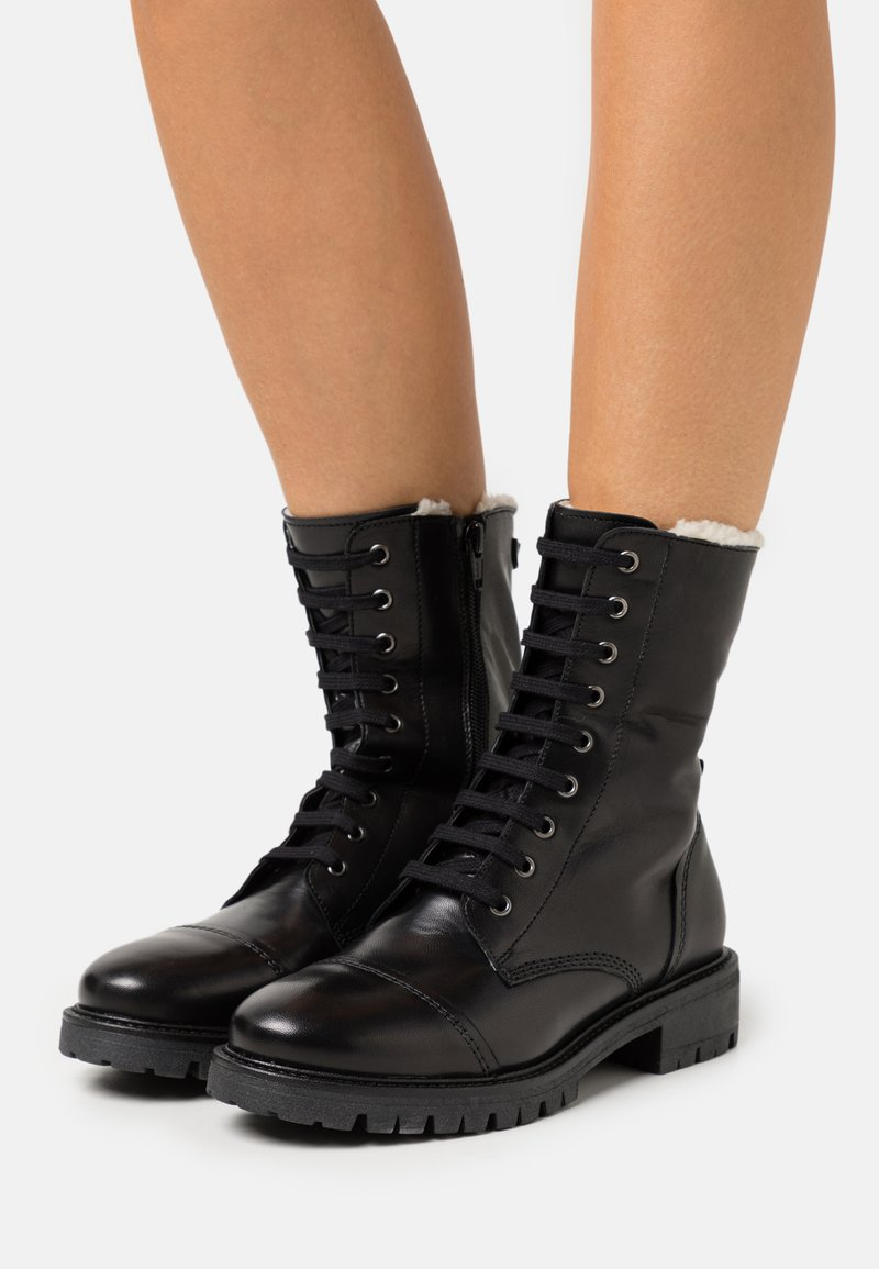 Anna Field - LEATHER - Lace-up ankle boots - black