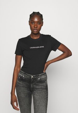 SHRUNKEN INSTITUTIONAL TEE - T-shirt z nadrukiem - black