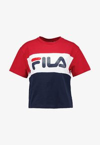 Fila - ALLISON - Print T-shirt - black iris/true red/bright white - 4