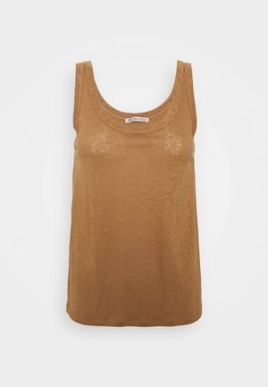 TOP-LINEN BLEND - Top - brown