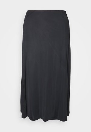 DRAPY SKIRT MIDI LENGTH SLIT DETAILING - A-line skirt - pure black