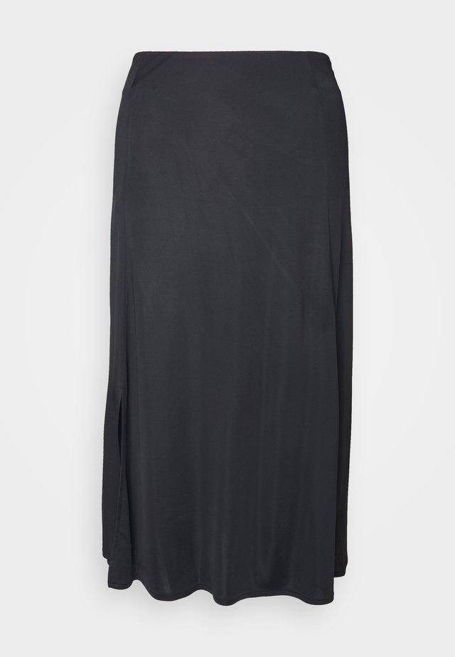 DRAPY SKIRT MIDI LENGTH SLIT DETAILING - A-snit nederdel/ A-formede nederdele - pure black